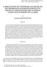 L' obligation de notifier les risques de dommages environnmentaux Syméon Karagianis Pubblicazioni SSIP Seminario
