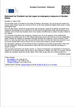Statement by President von der Leyen on emergency measures in Member States Pubblicazioni SSIP Seminario